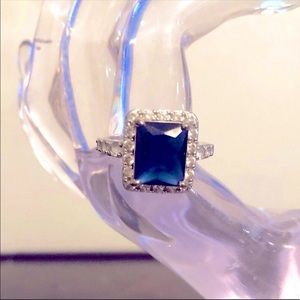 Fragrant Jewels Sapphire and Cubic Zirconia Ring